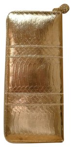Kotur Gold Evening /wallet Zippered Zippered Wallet Snakeskin Metallic Gold Snakeskin Clutch