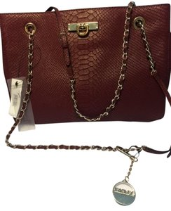 DKNY Python Gold Chain Embossed Leather Leather Handbag Shoulder Bag