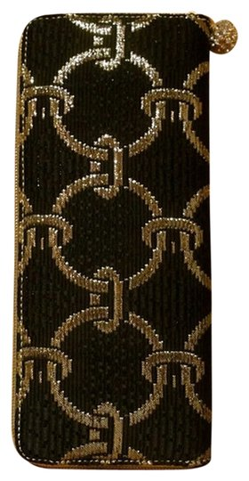 Kotur Evening Cocktail Metallic Brocade Rare Limited Edition Zippered Wallet Black/Gold Clutch