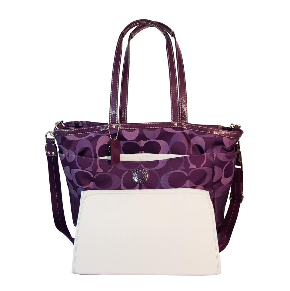 436436f5b9 Coach F20037 Legacy Stripe Multifunctional Tote Purple Signature Jacquard    Leather Diaper Bag 53% off retail