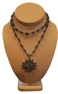 Other Vintage Rosary Beaded Cross Turquoise Color Stones Pendent Necklace