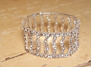 Bridal Silver Rhodium Plated Rhinestone Stretch