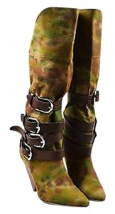 Isabel Marant Brown Camouflage Canvas Leather Harness Green Boots