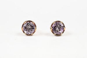 Tacori Tacori Sterling Silver 18k Rose Gold Amethyst Post Earrings
