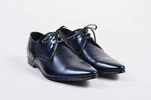 Mens Dolce Gabbana Navy Blue And Black Glossy Leather Lace Up Loafers