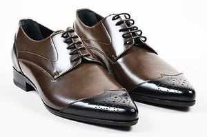 Mens Dg Dolce Gabbana Brown Black Leather Perforated Oxfords
