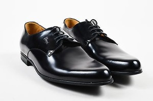 Mens Gucci Black Glossy Leather Lace Up Classic Oxfords