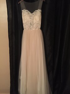 Grace Loves Lace Nude and Ivory Tulle Loriel Feminine Wedding Dress Size 6 (S)