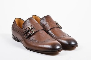Mens Gucci Brown Grain Leather Double Buckle Top Stitch Loafer Shoes