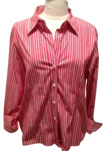 MICHAEL Michael Kors Button Down Shirt Red and White Stripe