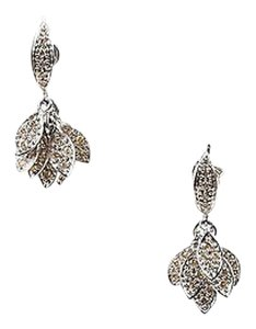 Other Sydney Evan 14k White Gold Pave Diamond Cluster Leaf Drop Earrings