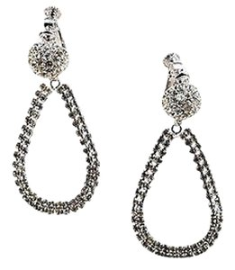 Les Bernard Vintage Les Bernard Silver Tone Rhinestone Teardrop Dangle Clip On Earrings