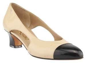 Salvatore Ferragamo Cap Toe Beige & Black Pumps