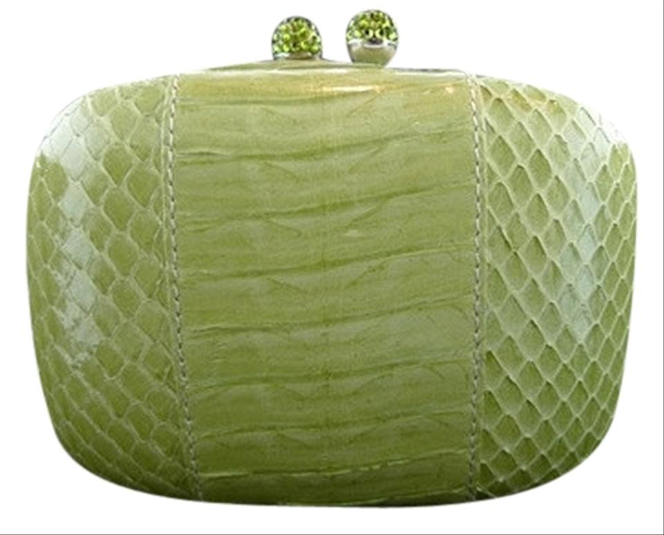 D'abo Lime Green Python Clutch
