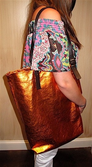 Jane August Embellished Funky Colorful Good For Travel Or Work. Holds A Lot Of Stuff Tote in Orange Metallic