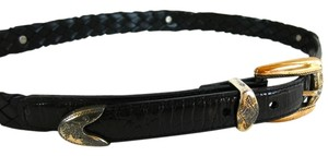 Brighton Brighton Black Leather Braided Belt Distressed Hardware Sz Small # 97003