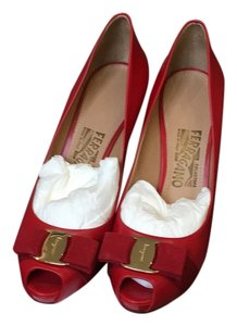 Salvatore Ferragamo Red Platforms