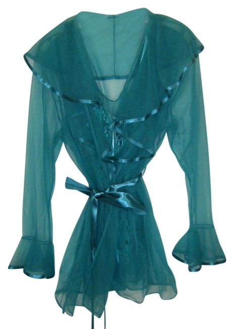 Item - Green Peignoir Robe & Lace Teddy Lace Up Sheer Short Nwot Pc Sexy Activewear Sports Bra Size 14 (L, 34)