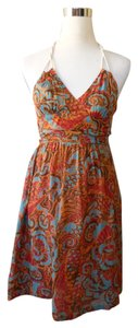 Moulinette Soeurs short dress Orange Bohemian Halter Turquise Red on Tradesy