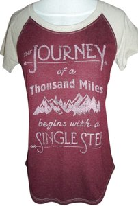 Maurices Small Tan T Shirt Burgundy