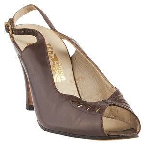 Salvatore Ferragamo Leather Slingback Heels Brown Formal