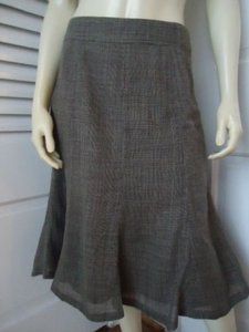 Banana Republic 0 Lightweight Wool Plaid Gored Flared Lined Classy Skirt Grays