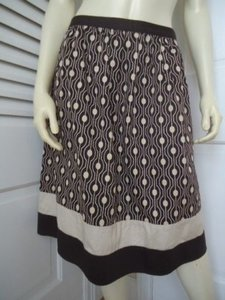 Talbots Stretch Colorblock Hem Retro Polka Dot Unlined Sweet Skirt Multi-Color
