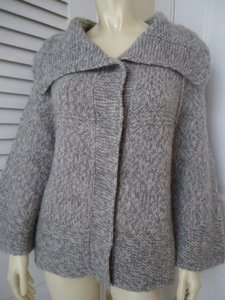 Ann Taylor LOFT L Wool Alpaca Blend Snap Front Cardigan Swing Sweater