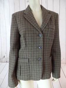 Ralph Lauren Chaps Ralph Lauren Blazer Wool Viscose Blend Button Front Checked Plaid Chic