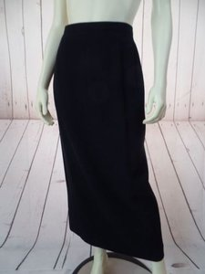 Emanuel Ungaro 842 Long Straight Rayon Wool Nylon Stretch Blend Hot Skirt Black