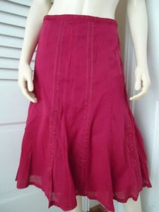 Other Katies Boho Peasant Gored Flare Satin Ribbon Design Hippie Maxi Skirt Red