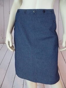 Etcetera Etc Denim Poly Spandex Blend Straight Naval Inspire Skirt Blue