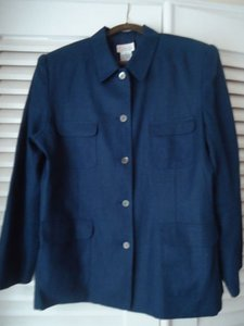 Talbots Talbots Blazer Plus Blue Irish Linen Button Front Pockets Lined Chic