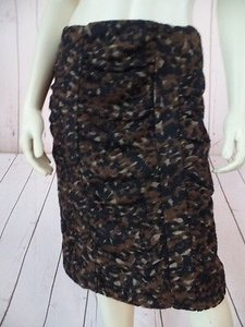 Etcetera Poly Wool Acrylic Stretch Blend Fuzzy Ruched Gathers Leopard Skirt Brown, black, gold