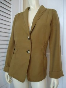 J. Jill Jill 100 Linen Fitted Blazer Chain Stitching Classy Greens Jacket