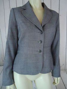 Tahari Tahari Blazer Gray Specked Button Front Viscose Wool Lycra Stretch Faux Belt