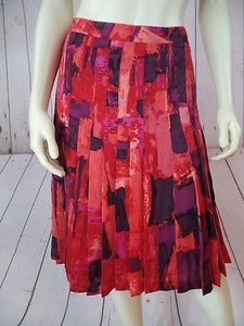 Brooks Brothers Silk Pleated Lined Red Abstract Classy Skirt Purple, Pink, Red, Orange, Black