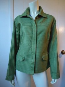 Chico's Chicos Cotton Blend Stretch Blazer Green Ribbon Texture Design