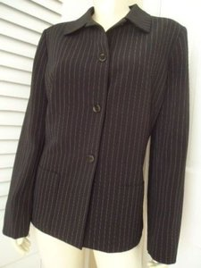 Tahari Tahari Arthur S. Levine Blazer Black Pinstripe Button Coat Lined Pockets Chic