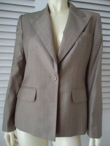Anne Klein Anne Klein Pinstripe Light Brown Suit Jacket Blazer 8p Lined Pockets Classy