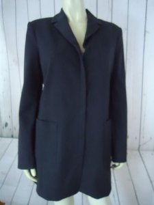 Thalian Coat Blazer Heather Zip Front Long Sleek Poly Rayon Stretch Dark Gray Jacket