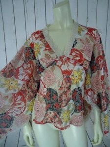 Miss Me Sheer 1 Pullover Kimono Sleeves Lace Floral Birds Hippie Boho Top Multi-Color