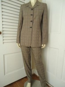 Lafayette 148 Ny Pant Suit Long Blazer Plaid Rayon Poly Lined Classy