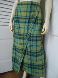 Other Rhapsodie De Weinberg Us 8 Stretch Wool Long Straight Faux Wrap Skirt Shades of Green and Blue