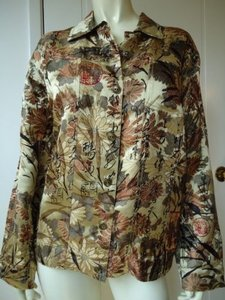 Other Chicos Design Silk Rayon Asian Inspired Blazer 1 Gold Button Front