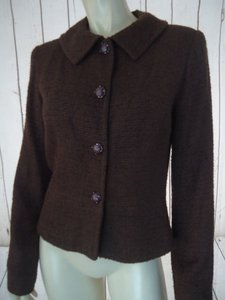 Talbots Talbots Blazer Brown Texture Acrylic Nylon Decorative Button Peplum Retro Chic