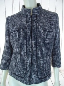 Dalia Dalia Collection Blazer Wtag Black Gray White Tweed Poly Wool Blend Crop