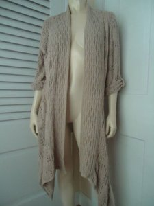 Coldwater Creek Wrap Lagenlook Open Front Knit Crochet Boho Chic Sweater