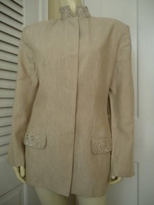 Tahari Linen Blend Long Beiges Jacket