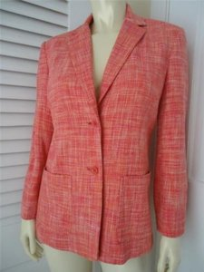 Talbots Talbots Petites Pure Silk Pink Orange Weave Blazer Jacket Lined Classic Chic